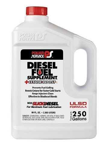 Power Service 1080-06 +Cetane Boost Diesel Fuel Supplement Anti-Freezer - 80 oz. (4) - Fuel Anti-Gel; DIESEL FUEL SUPPLEMENT (R)+CETANE BOOST (R); Use To Prevent Fuel Gelling/ Protects Fuel Filter Icing/ Boosts Cetane For Faster Cold Starts; 80 Ounce Jug;