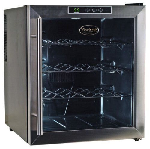 Vinotemp VT-16TEDS Thermo-Electric Digital 16-Bottle Wine Chiller, Black and Stainless by Vinotemp. $223.98. Vinotemp VT-16TEDS Thermo Electric Digital Black w/Stainless Steel trim (16) Bottle wine cooler.  With the innovative thermo-electric cooling system, which involves very few moving parts, your wine will be protected from unneccessary vibration.  More importantly, Thermo-electric cooling does not use ozone depleating chemicals such as CFC's or HCFC's so you will be sure t...