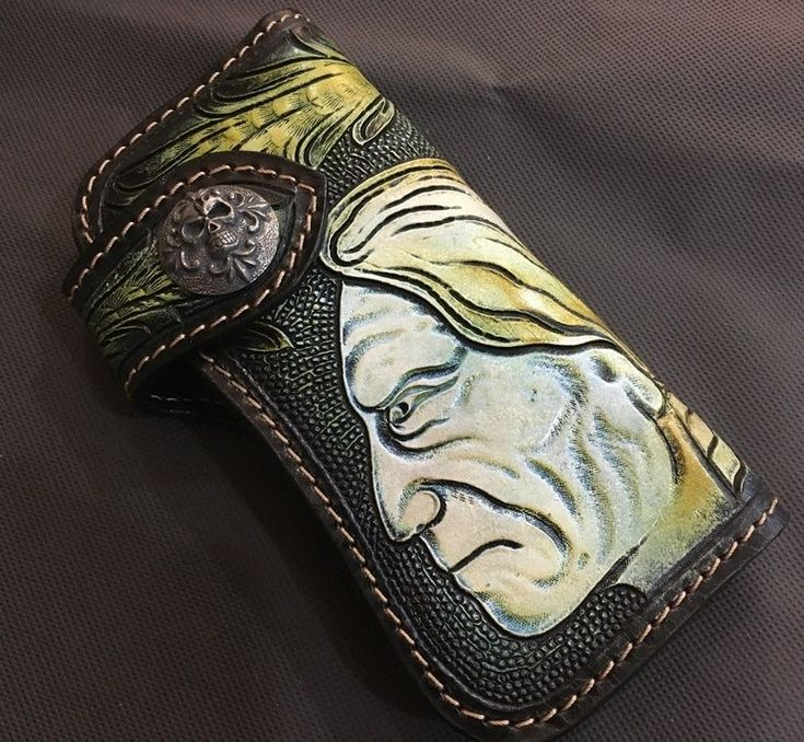 Indian Wallet Purse Billfold Biker Accessories Vintage Long Leather Carved Rock  #Unbranded #Bifold