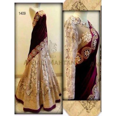 LT Fab Exclusive Red And Off Whites Beautiful Designer Lahenga Choli