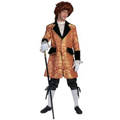 Barok kostuum goud met zwart. Compleet Barok kostuum dat bestaat uit de zwarte driekwarts broek, de gouden jas en de bef.