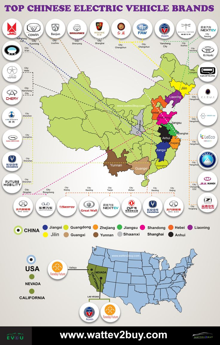 Clickable infographic of the top Chinese electric vehicle automakers and the location of their  production plants