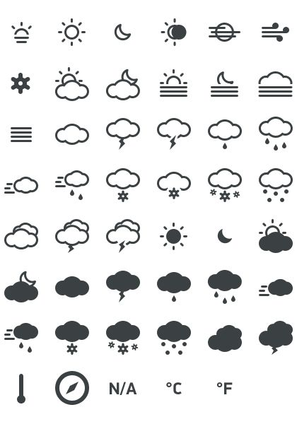 Meteocons - a free set of 40+ weather icons in PSD, CHS, EPS, SVG, Desktop font and Web font.