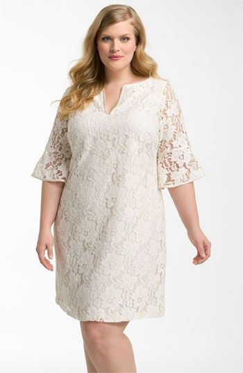 love this sweet lace dress. Can add cognac riding boots and a cognac leather belt to take it into fall #plussize