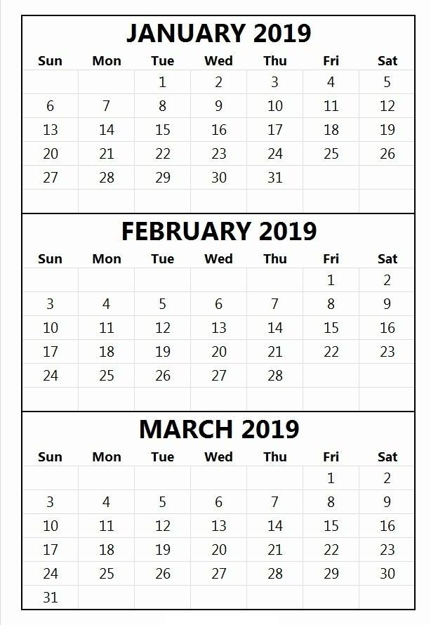January February March 2019 Quarter 1 Q1 Printable Calendar