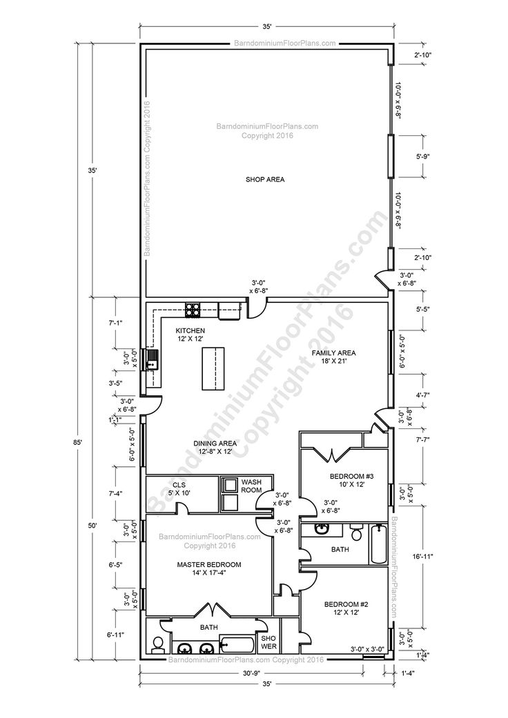Barndominium floor plans pole barn house plans and metal for Small pole barn house plans