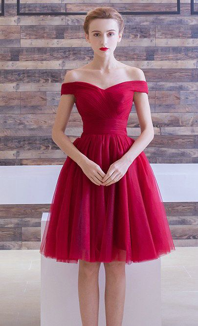 1a0c4cdb9ab6 Red Homecoming Dress,Short Red Tulle Party Dress,Off Shoulder ...