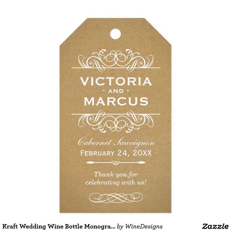 wedding stickers for invitations%0A Kraft Wedding Wine Bottle Monogram Favor Tags
