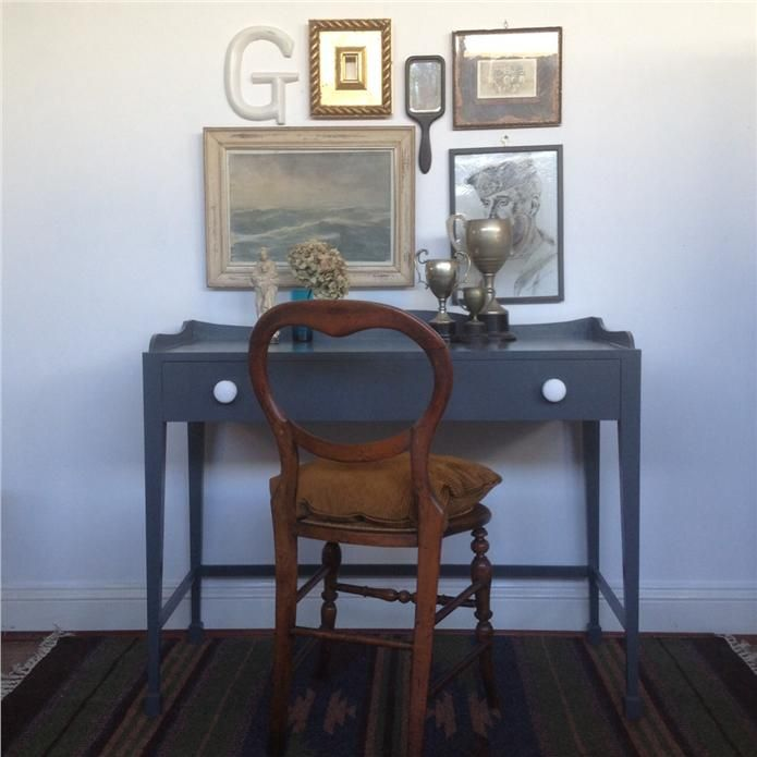 An inspirational image from Farrow and Ball Vintage inspired French hotel desk in Down Pipe