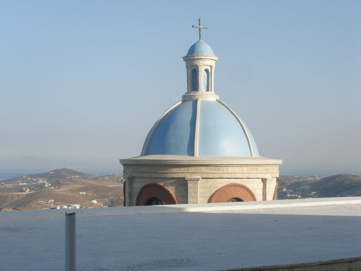 Church in #Ano #Syros.During the afternoon, the #OMILO students can join a guided walk in the streets of Ano Syros, with wonderful views over Hermoupolis ., as well as the islands of Tinos and Mykonos. http://www.omilo.com/syros/