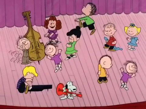 Peanuts dancing peanuts charlie brown a charlie brown christmas GIF