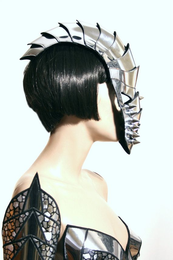 Gladiator mask spartan futuristic helmet warrior mask headpiece armor sci fi cyber headdress cybergoth divamp couture