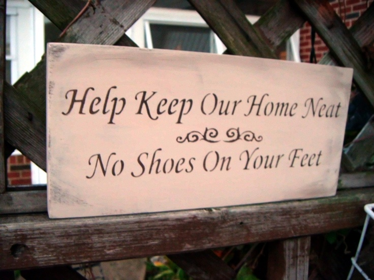 No Shoes Sign - we need something like this - or one that reads: YES, take your shoes off.