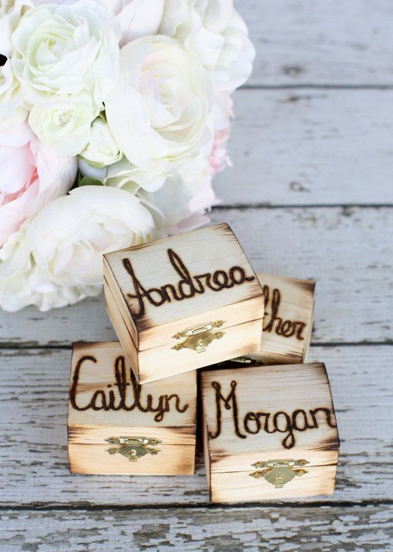 Rustic Personalized Bridesmaid Jewelry Boxes by braggingbags, $59.99