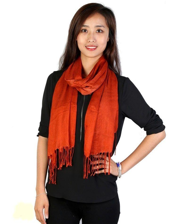 "Rust Orange Pashmina Silk Blend Fashion Scarf Wrap 72"" X 40"" NEW NWT #NorthSouthFashions #Pashmina"