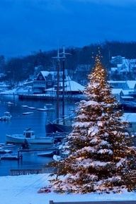 The town of Camden, Maine puts up the annual christmas tree next to the harbor in the downtown district.