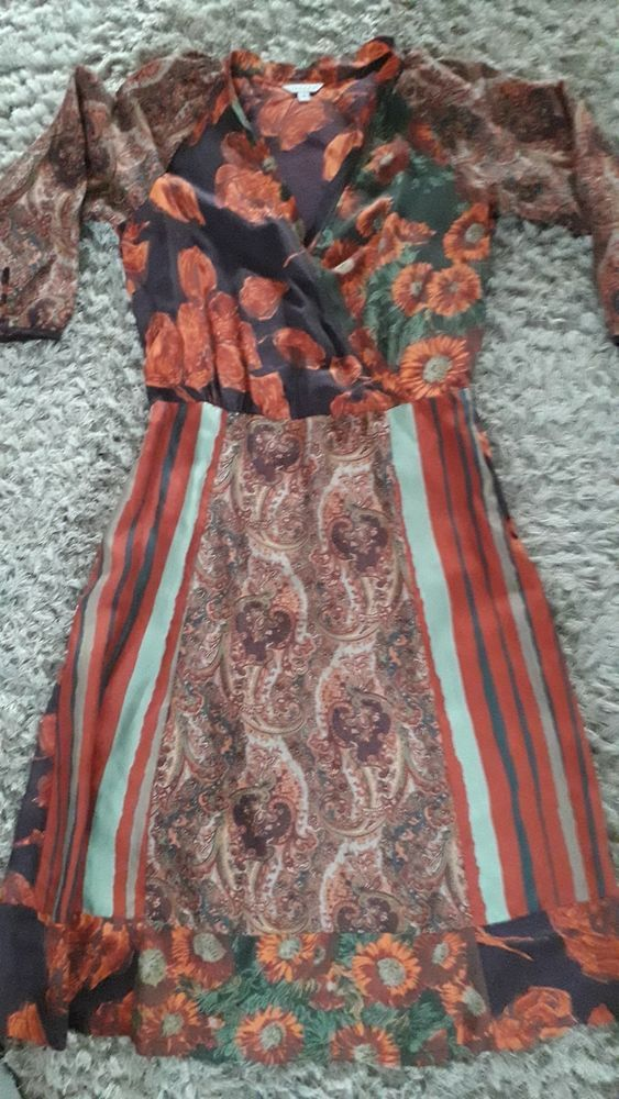 Ladies JIGSAW SILK dress size 12. Autumnal rust colours.  fashion  clothes   shoes  accessories  womensclothing  dresses (ebay link) 782ff4463