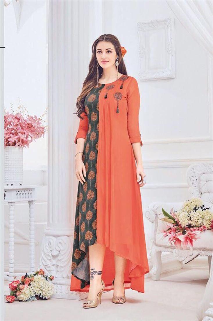9de78c88e2 Trend Of Georgette Indian Latest Kurti Designs 2018   Kurtis in 2019 ...