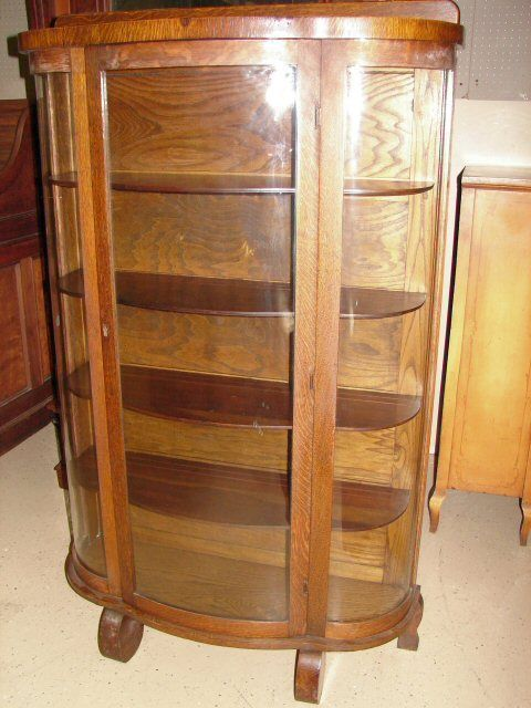 Antique Oak Bow Front China Curio Cabinet Walshmoor