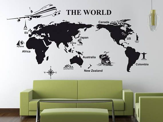World Map Wall Sticker, World Map Wall Decal Decor, World Map Wall Sticker  Removable Part 72