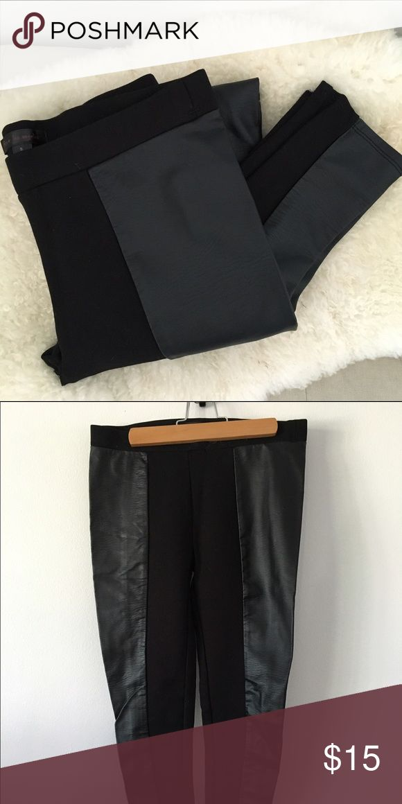 Black leggings with faux leather panels Thick black leggings with faux leather side panels. Never worn. Nordstrom Pants Leggings