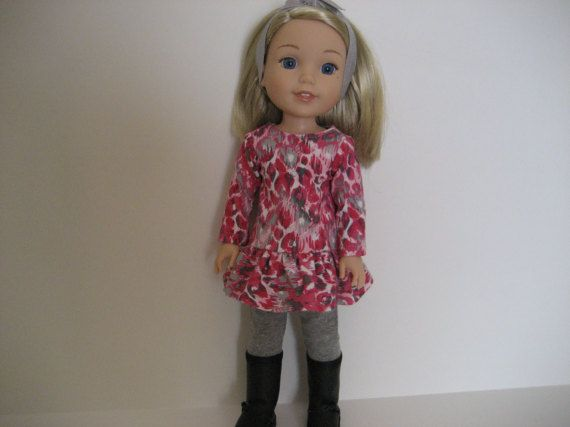14.5 Inch Doll ClothesPink Animal Print Dress by TinyClothesline