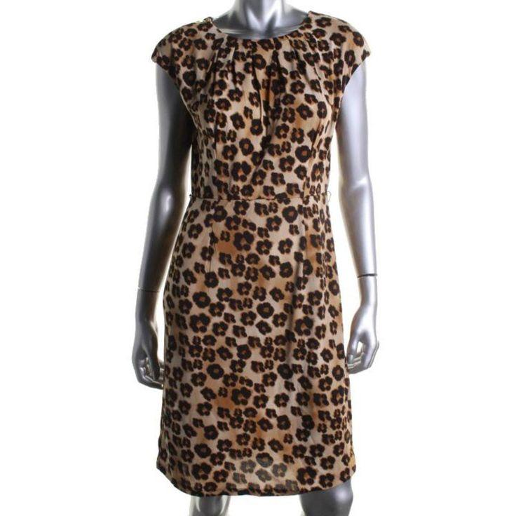 Charter Club Womens Matte Jersey Animal Print Wear to Work Dress