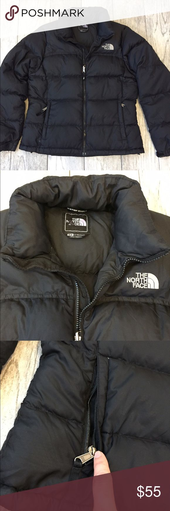Women's North Face Jacket Puffed Jacket with sleek quilt lines, the classic Nuptse jacket provides lofty, puffed warmth with deep baffles that are stuffed with 700-fill goose down to capture warmth where it counts. Super comfy and warm puffer North Face Jacket. Zipper is broken on the left side. You can see it when worn. North Face Jackets & Coats Puffers