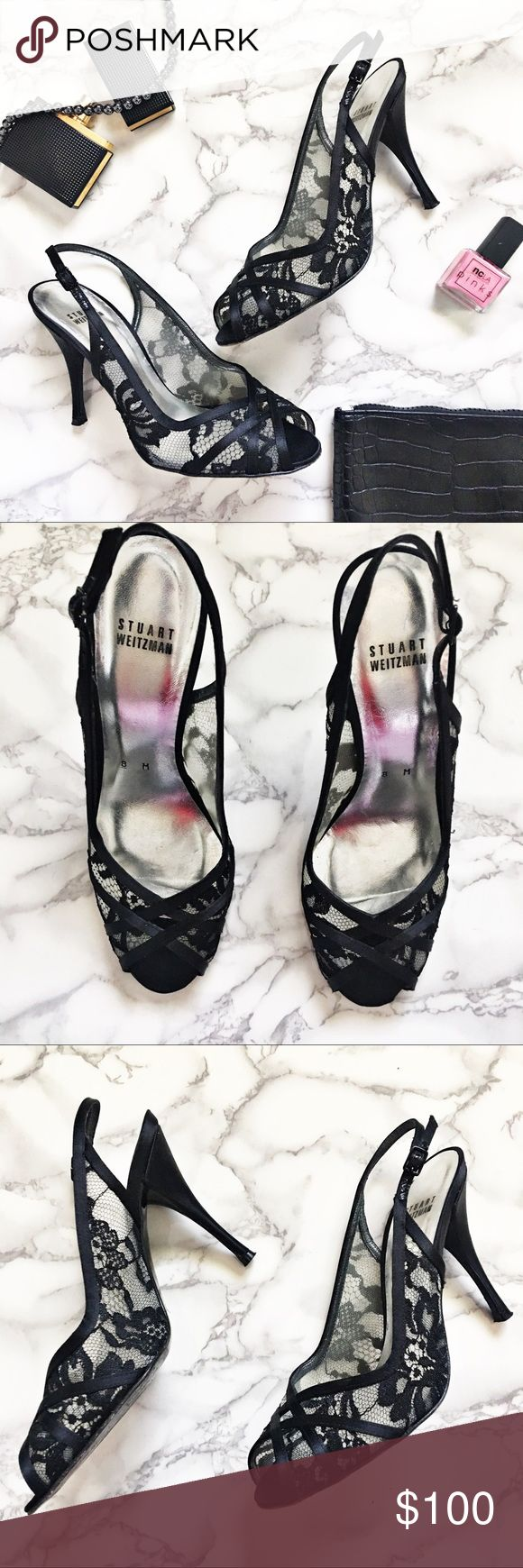 "Stuart Weitzman Floral Lace Peep Toe Heels Black satin peep toe heels by Stuart Weitzman.  They have a soft leather lined footbed and Floral Lace.  Shoes are in good condition except for wear on soles.  Heel measures approximately 3.75"". Stuart Weitzman Shoes Heels"