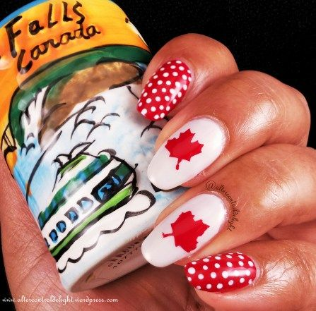 Canada Day Mani 1/6 #nail #nailart #dotticure #polkadot #canadaday #whatsupnails #nailvinyl #nailstencil #mapleleaf #canadaflag