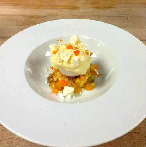"Tropical Fruit Vacherin"" Coconut Sorbet, Passion Fruit Custard, Spiced ..."