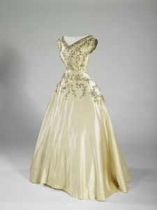 Dresses worn by the Maids of Honour during Queen Elizabeth II's coronation. Designed by Norman Hartnell, 1953.