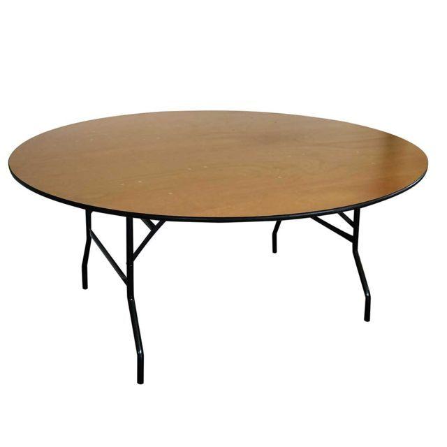 Mobeventpro Table Pliante Ronde En Bois 10 Places 170cm Buffet
