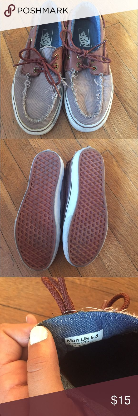 Vans boat shoes like new size 8 Super cute vans boat shoes. Grey with brown leather. Extremely good condition. Vans Shoes Sneakers