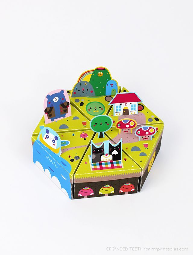 Paper Island // paper toy + favor box / free templates, created by Crowded Teeth for Mr Printables
