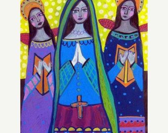 50% OFF Mexican Folk Art - Angel Art Primitive Folk Art Poster Print of painting by Heather Galler
