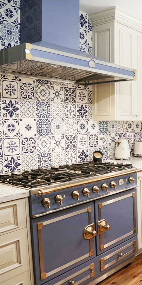 hand painted kitchen tile