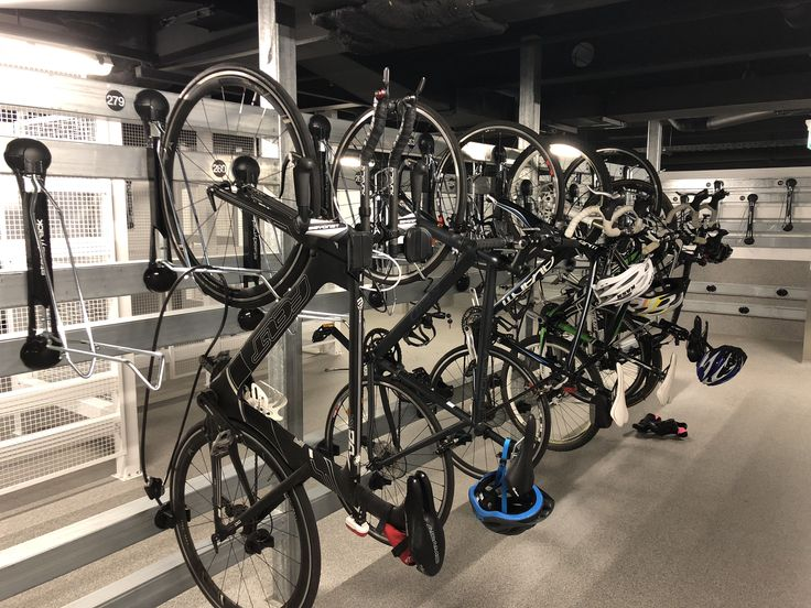 Brookfield Place commercial bike parking facility features Steadyrack vertical bike racks.