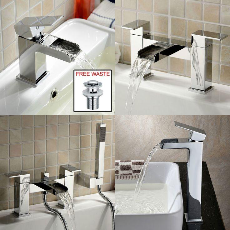 OZONE WATERFALL BATHROOM TAP SET - BASIN MONO, BATH FILLER, SHOWER MIXER & WASTE
