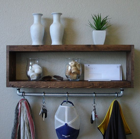 Modern Rustic Entryway Coat Rack With Floating Shelf And