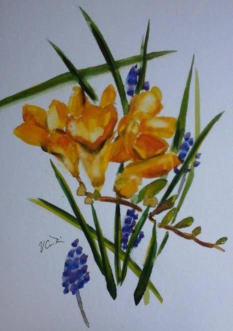 Yellow Freesias  original watercolour painting by Vicky