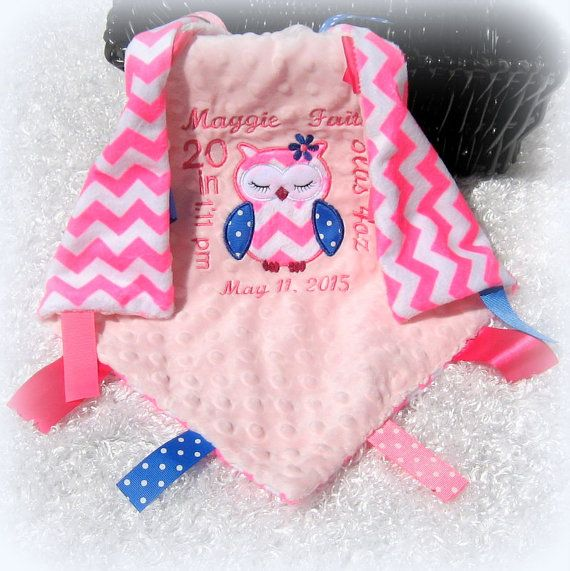 The 53 best personalized tag blankets images on pinterest tag personalized with your babys birth announcement owl lovey tag along security blanket birth info girl keep sake gift pink chevron lovie negle Gallery