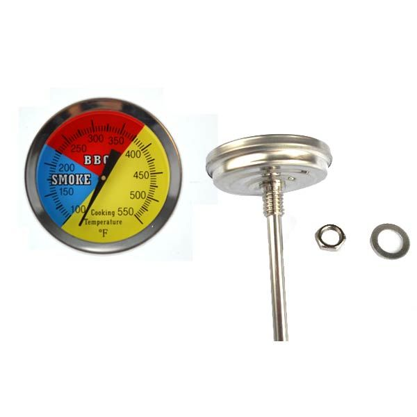 475F BBQ CHARCOAL GRILL SMOKER PIT TEMPERATURE GAUGE THERMOMETER 2.5 STEM SS RWB Fits Compatible Grand Cafe Models : Grand Cafe 1000