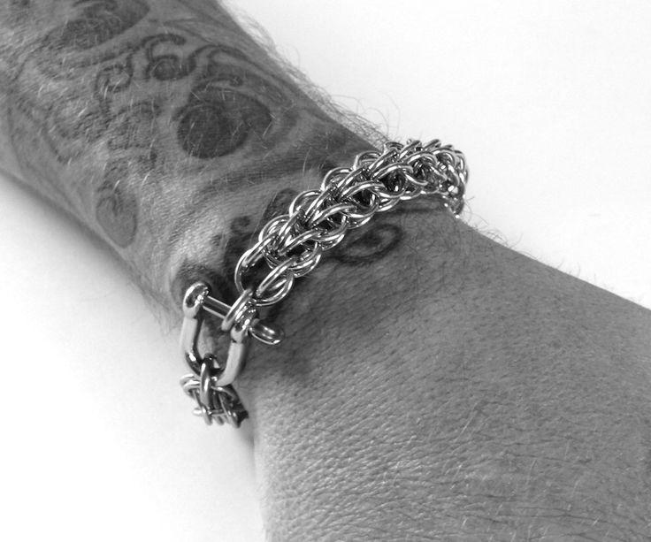 Mens Silver Bracelet, Mens Bracelet, Persian Chain, Stainless Steel Bracelet, Mens Custom Jewelry, Thick Metal Bracelet, Gift For Him by SanFilippoLeather on Etsy https://www.etsy.com/listing/222020685/mens-silver-bracelet-mens-bracelet