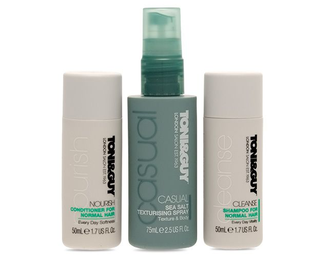 Toni & Guy's handy little travel kit is ideal for getaways. The sea salt texturising spray is great for the beach look. Perfect holiday hair.