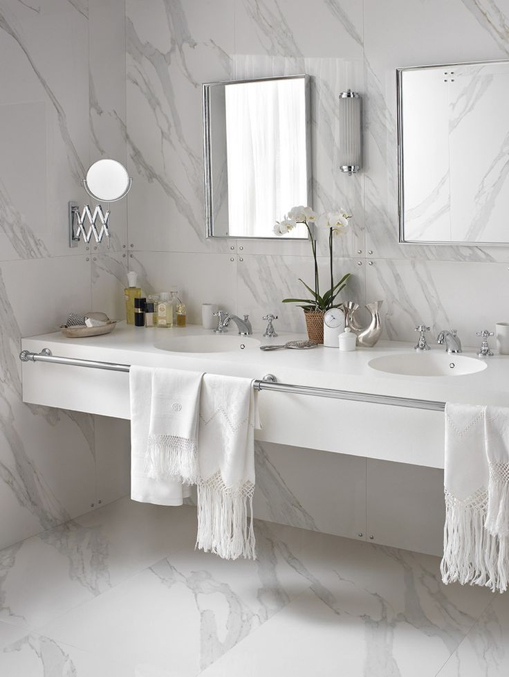 design handwaschbecken badezimmer weiss marmor doppelwaschtisch #badezimmer #bathroom #ideas