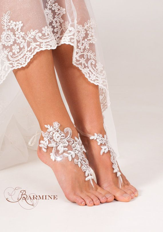 Lace barefoot sandals Bridal footless sandals by BBbyBarmine