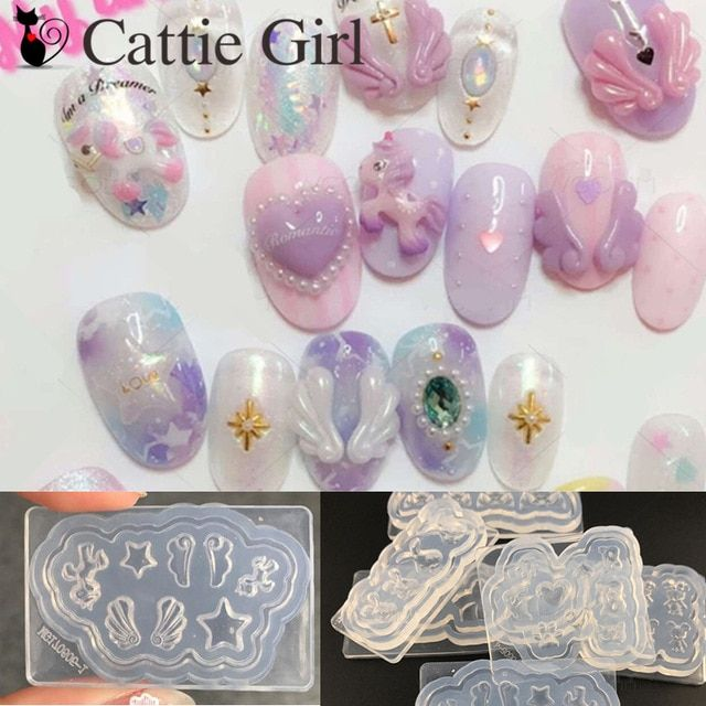 1pc 3d Acrylic Mold For Nail Art Decorations Diy Design Silicone