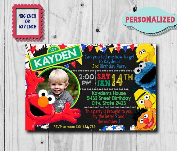Elmo Invitation / Elmo Birthday Invitation / Sesame Street Invitation / Elmo Birthday Party / Elmo Birthday / Elmo Invite / Elmo Party CK  This is digital file, Proof file invitation will send by your email etsy account or email you want  - With your order you will receive 1 High Resolution Photo JPEG - ONE photo can be placed on this invitation. If you would like the background removed or more than 1 photo added this can be done for an additional cost (please me...