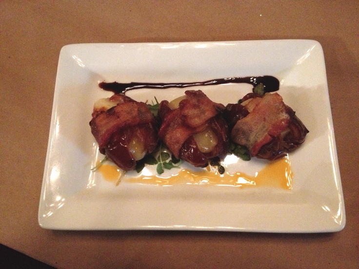 Bacon-wrapped dates from Crush Wine Bar - Sandusky, Ohio.  These are heaven on a plate!!